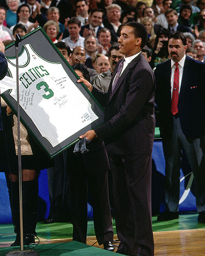 dj with retired jersey #3 at the Garden