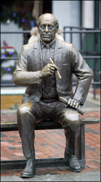the Red Auerbach statue in Boston's Faneuil Hall marketplace